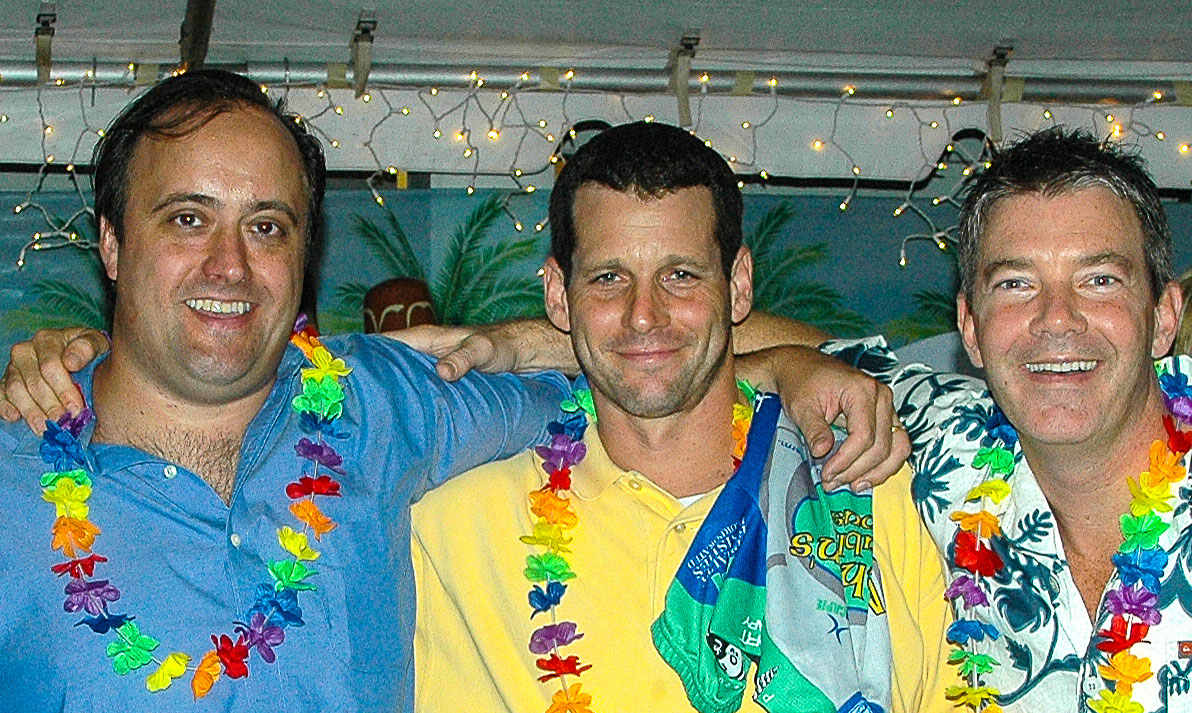 Frank Smith, Chris Segal and Steve Buero at a Hawaiin themed party.