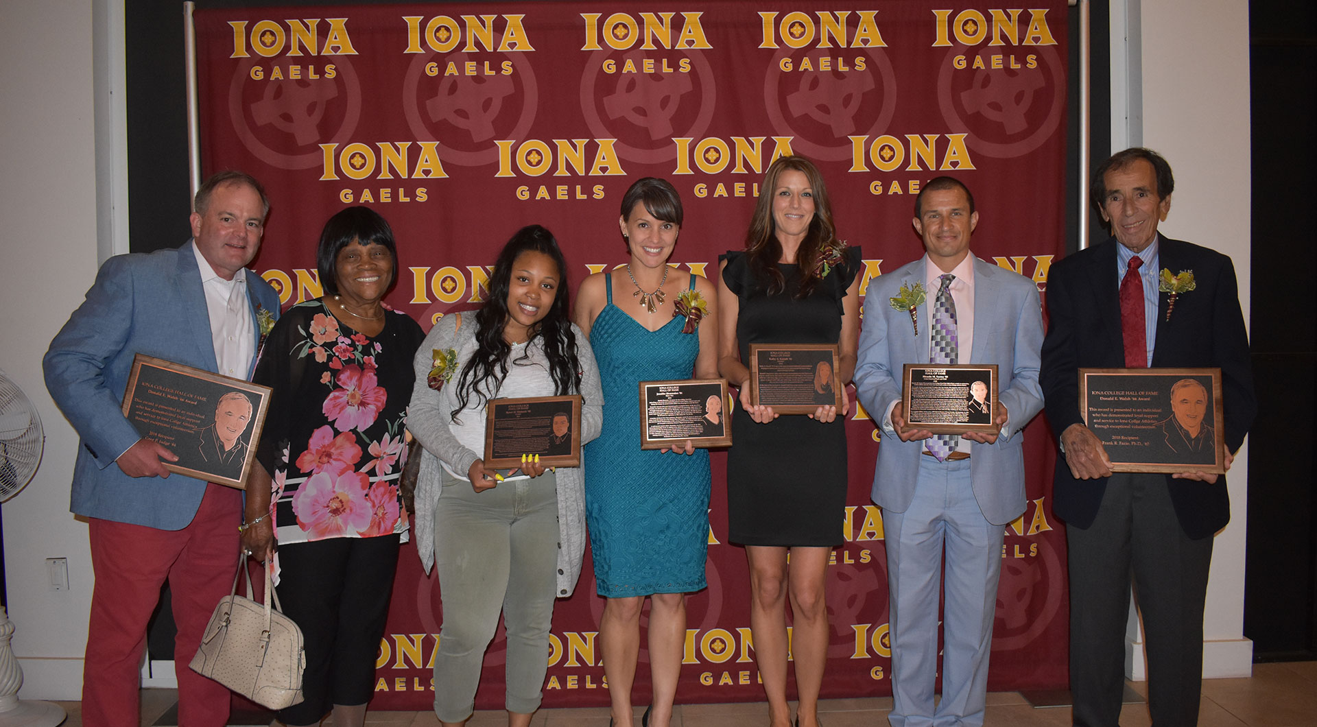 Hall of famers and awardees from left to right: Greg Judge, Shirley Womack, Carson Womack, Jennifer Shoemaker, Kathy Kunath, Ricardo Santos and Frank Fazio