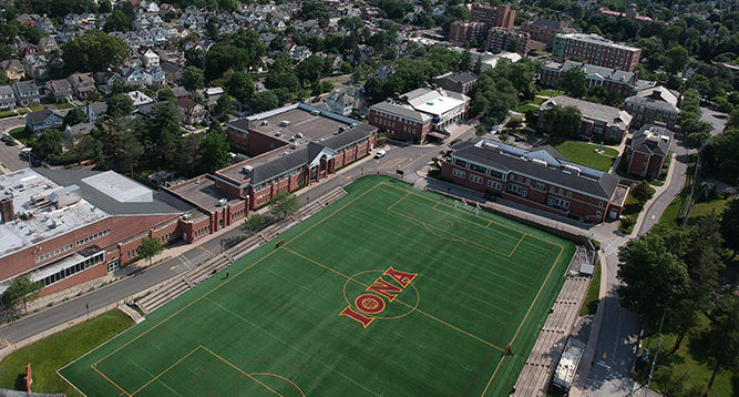 An aerial shot of Mazzella Field and the Iona Campus.