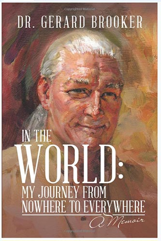 In the world book cover, oil painting og the author smiling.