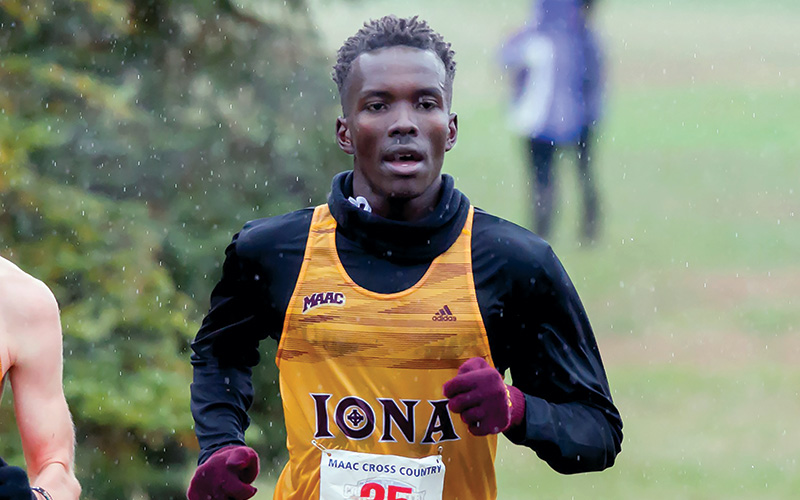 Iona student running cross country.