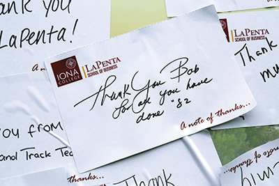Handwritten thank you notes for Bob LaPenta.