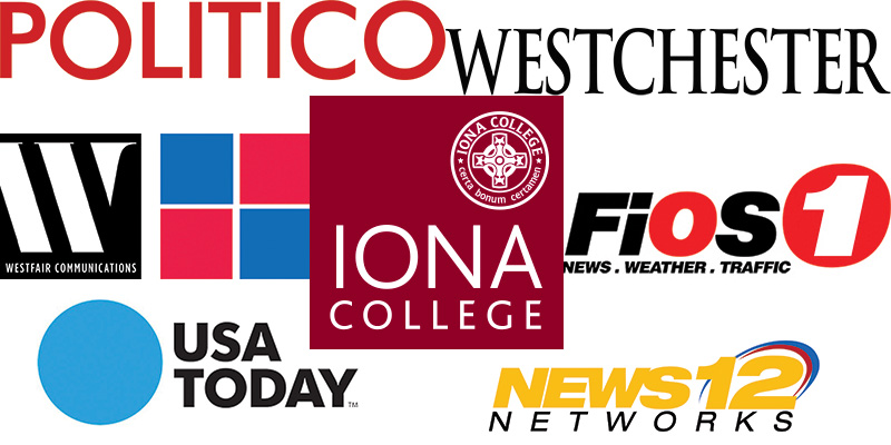 Collage of Iona Logo with news logos featured in this article