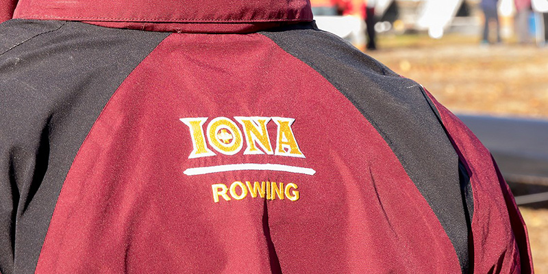 Back of someone wearing Iona Rowing jacket.