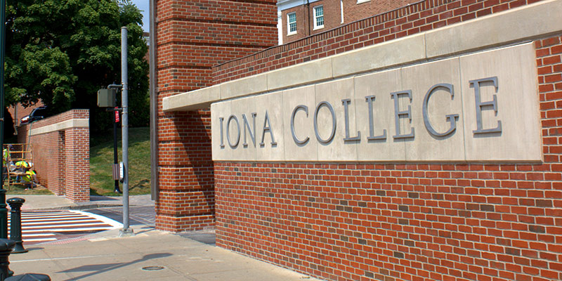 North Avenue entrance of Iona College.