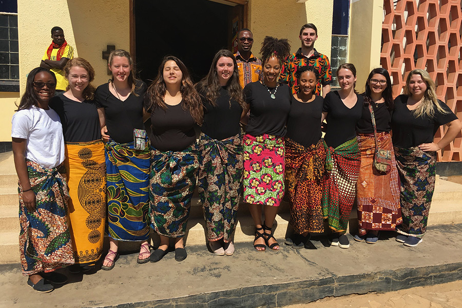 Nadine Cosby with her students in Zambia on a mission trip.
