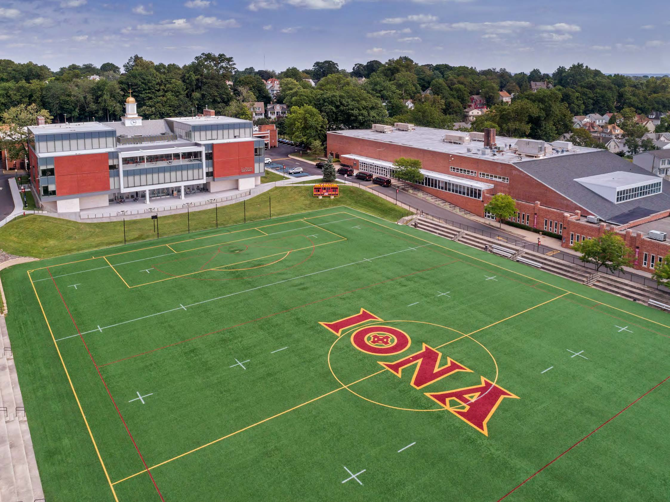 Aerial view of Mazzella Field at Iona College.