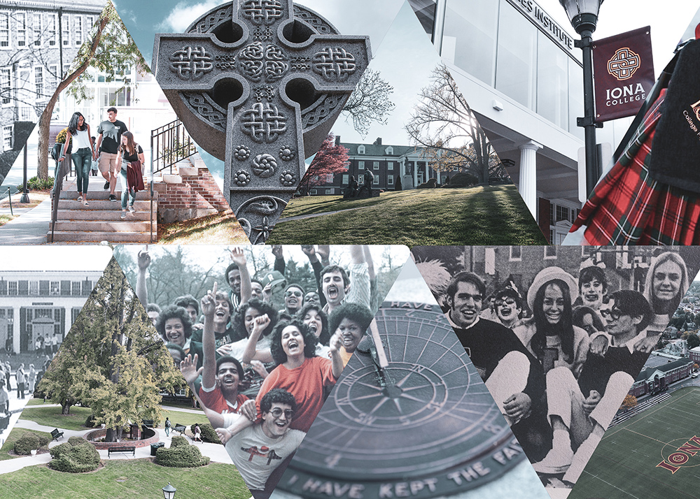 Collage of moments on Iona College's campus.