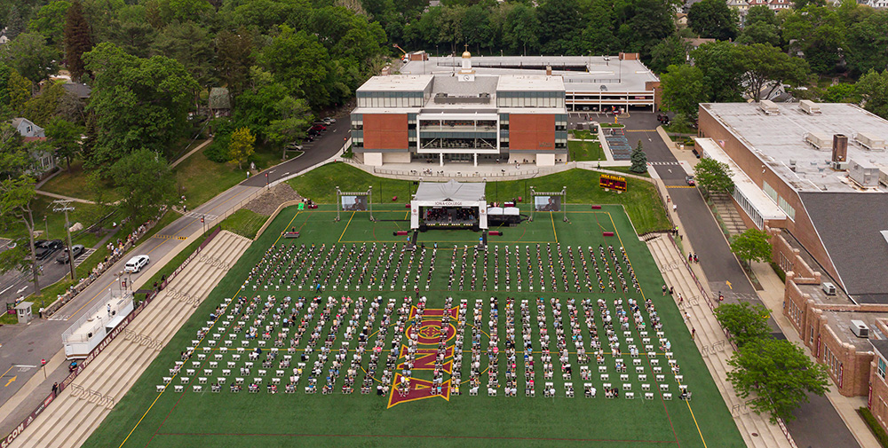 Aerial view of the Iona College in-person recognition ceremony.