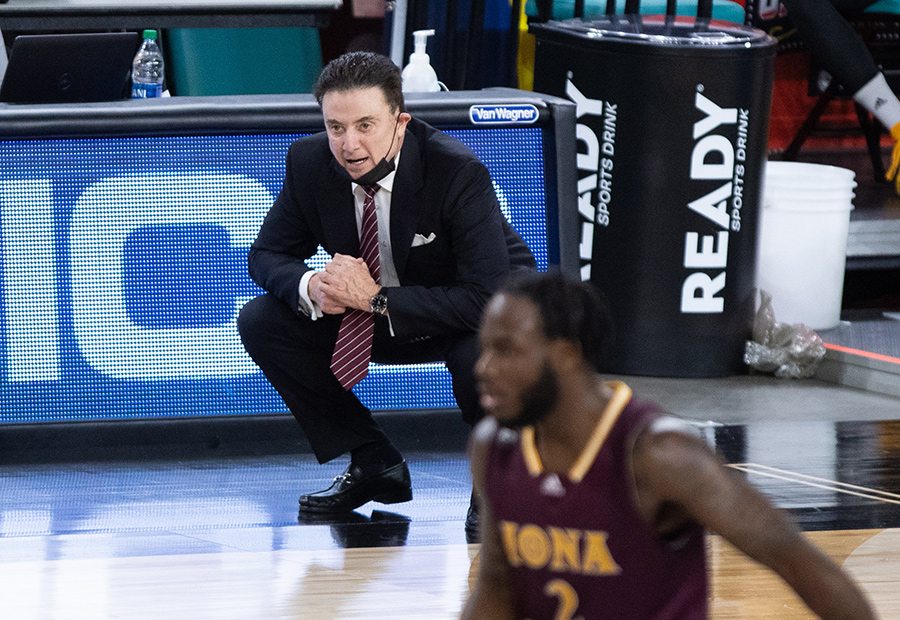 Rick Pitino on court during a game.